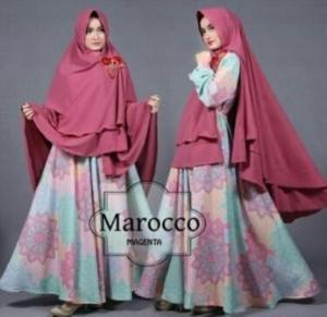 Gamis Terbaru Marocco Syar'i warna Magenta Bahan Woolpeach