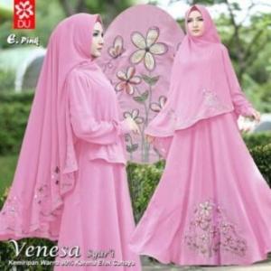 Gamis Venesa Syar'i Pink Untuk Lebaran Bahan Woolpeach