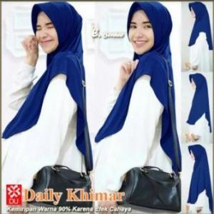 Jilbab Terbaru Cantik Daily Khimar Warna Biru Bahan Spandex Jersey
