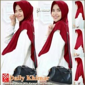 Jilbab Terbaru Cantik Daily Khimar Warna Maroon Bahan Spandex Jersey