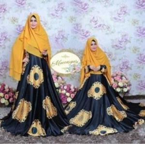 Baju Gamis CAntk Dan Mewah Macca Syar'i warna Black Bahan Maxmara
