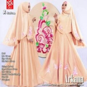 Baju Gamis Cantik Arkana Warna Salem Dengan Bahan woolpeach