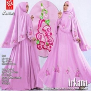 Baju Gamis Cantik Arkana Warna pink Dengan Bahan woolpeach
