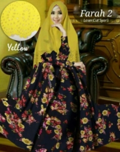 Baju Gamis Cantik Farah 2 Syar'i Warna Kuning Bahan Bubblepop