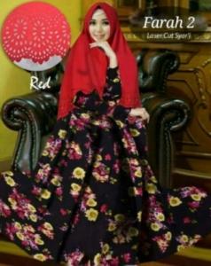 Baju Gamis Cantik Farah 2 Syar'i Warna Merah Bahan Bubblepop