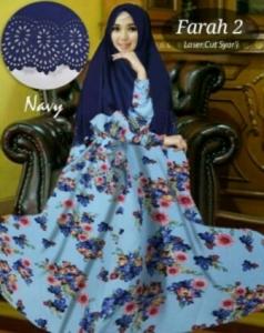 Baju Gamis Cantik Farah 2 Syar'i Warna Navy Bahan Bubblepop
