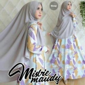 Baju Gamis Cantik Maudy Syar'i Warna Grey Bahan Misbie