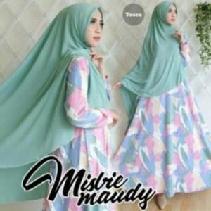 Baju Gamis Cantik Maudy Syar'i Warna Tosca Bahan Misbie
