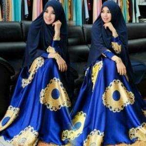 Baju Gamis Cantik Terbaru Macca Syar'i warna Elblue Dengan Bahan Maxmara