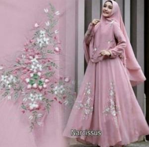 Baju Gamis Pesta Cantik Narcissus Syar'i Warna Dusty Pink Bahan Ceruty