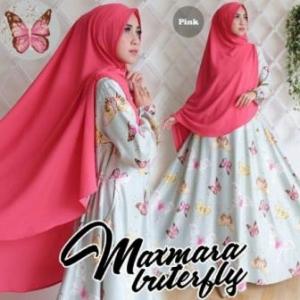Baju Gamis Terbarfu Modis Buterfly syar'i warna pink Dengan bahan maxmara
