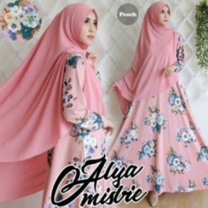 Baju Gamis Terbaru DAn Elegan Alya Syar'i warna peach Bahan Misbie