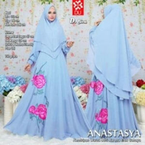 Baju Gamis Terbaru Dan Mewah Anastasya Syar'i Warna Biru Dengan Bahan Woolpeach