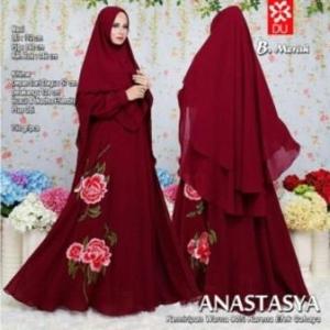 Baju Gamis Terbaru Dan Mewah Anastasya Syar'i Warna Merah Dengan Bahan Woolpeach