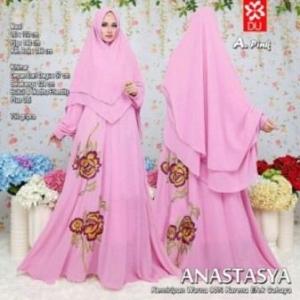 Baju Gamis Terbaru Dan Mewah Anastasya Syar'i Warna Pink Dengan Bahan Woolpeach