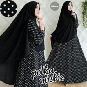 Baju Gamis Terbaru Polka Syar'i Warna Black Bahan Misbie