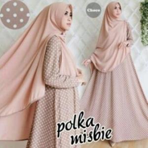 Baju Gamis Terbaru Polka Syar'i Warna Choco Bahan Misbie