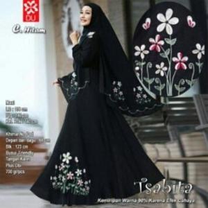 Baju Muslim Terbaru Untuk Wanita Tsabita Syar'i Warna Hitam Bahan Woolpeach