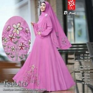 Baju Muslim Terbaru Untuk Wanita Tsabita Syar'i Warna Pink Bahan Woolpeach