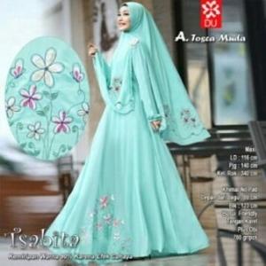 Baju Muslim Terbaru Untuk Wanita Tsabita Syar'i Warna Tosca Muda Bahan Woolpeach