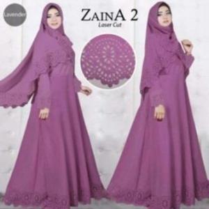 Baju Muslim Wanita Cantik Zaina 2 Syar'i warna Lavender Bahan Bubblepop
