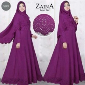 Baju Muslim Wanita Cantik Zaina 2 Syar'i warna Purple Bahan Bubblepop