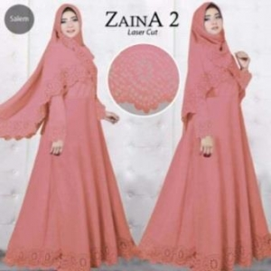 Baju Muslim Wanita Cantik Zaina 2 Syar'i warna salem Bahan Bubblepop