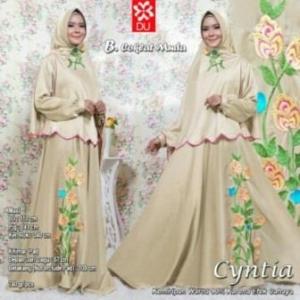 Baju Muslim Wanita Cyntia Syar'i warna Coklat Muda Bahan Woolpeach