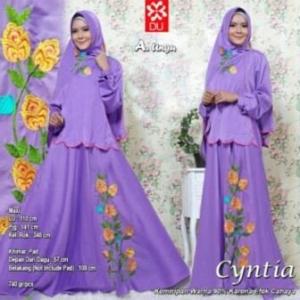 Baju Muslim Wanita Cyntia Syar'i warna Ungu Bahan Woolpeach