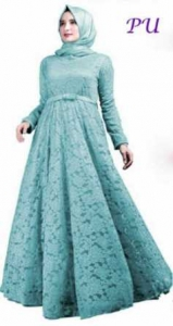 Baju Pesta Muslim Soraya warna Biru Tosca Bahan Brukat