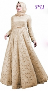 Baju Pesta Muslim Soraya warna Coklat Bahan Brukat