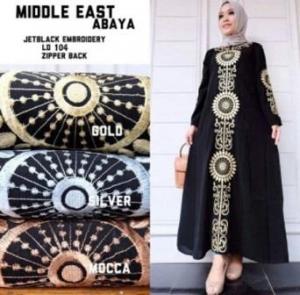 Busana Muslim Modern Abaya Bordir Dengan Bahan Jetblack Impor