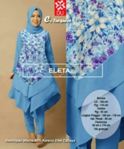 Busana Muslim Modern Eleta Set Warna Turquise Bahan Spandex Jersey