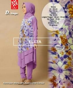 Busana Muslim Modern Eleta Set Warna Ungu Bahan Spandex Jersey
