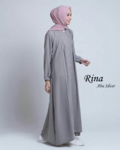 Busana Muslim Modern Manis Ukuran Kecil Rina Warna Abu Bahan Baloteli