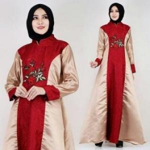 Busana Muslim Pesta Anggun Keisha Warna Red Bahan Jaguar Impor