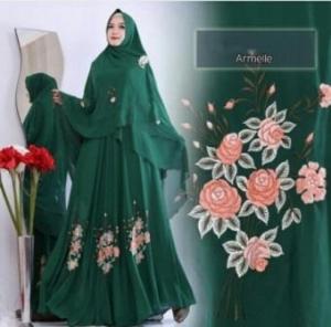 Busana Muslim Pesta Modis Armelle Syar'i warna Darkgreen Dengan Bahan Ceruty