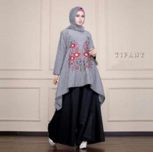 Busana Muslim Trendy Kekinian Tifany Set warna Black Bahan Katun Yanded