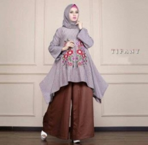Busana Muslim Trendy Kekinian Tifany Set warna Coffe Bahan Katun Yanded