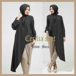 Busana Muslim Trendy Masa Kini Cecilia Set Warna Hitam Mocca Bahan Spandex Korea
