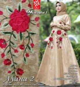 Busana Muslim Wanita Ayana 2 Syar'i warna Coklat Bahan Jacquard