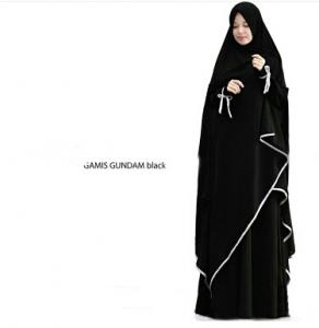 Gamis Gundam Syar'i Warna Black Dengan Bahan Wollycrepe