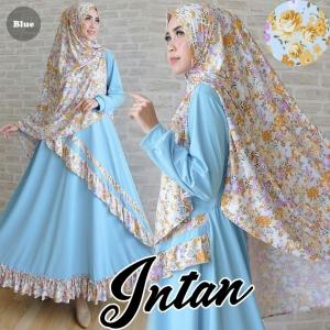 Gamis Murah Online Intan Syar'i warna Biru Bahan Wafle