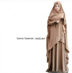 Gamis Muslimah Anggun Salaman Syar'i Warna Coklat Bahan Wolly Crepe
