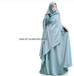 Gamis Muslimah Anggun Salaman Syar'i Warna Dusty Blue Bahan Wolly Crepe