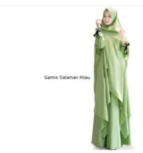 Gamis Muslimah Anggun Salaman Syar'i Warna Green Bahan Wolly Crepe