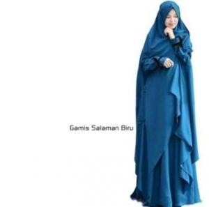 Gamis Muslimah Anggun Salaman Syar'i Warna blue Bahan Wolly Crepe