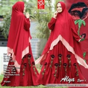 Gamis Muslimah Modis Alya Syar'i warna Merah Bahan woolpeach