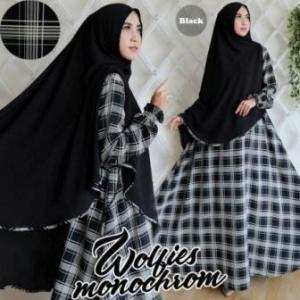Gamis Muslimah Terbaru Cantik Monochrome Syar'i warna Black bahan woolpeach