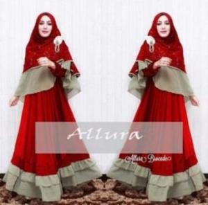 Gamis Pesta Aalura Syar'i Warna Red Bahan Velvet